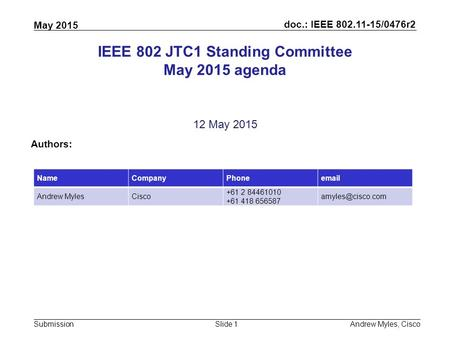 Doc.: IEEE 802.11-15/0476r2 Submission May 2015 Andrew Myles, CiscoSlide 1 IEEE 802 JTC1 Standing Committee May 2015 agenda 12 May 2015 Authors: NameCompanyPhoneemail.