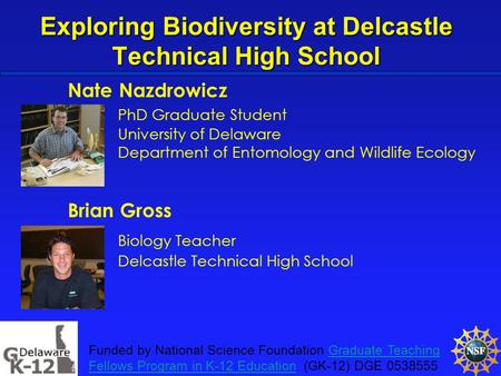 Exploring Biodiversity at Delcastle Technical High School Nate Nazdrowicz PhD Graduate Student University of Delaware Department of Entomology and Wildlife.