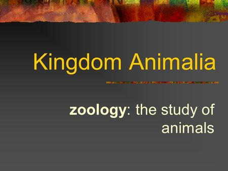 Kingdom Animalia zoology: the study of animals. General Characteristics have tissues and most have organs no chlorophyll - can't make own food cells not.