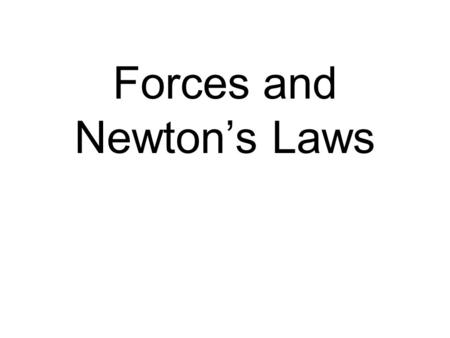 Forces and Newton's Laws. Galileo 1st to state that forces are not necessary to keep things moving In the absence of friction, things will continue to.