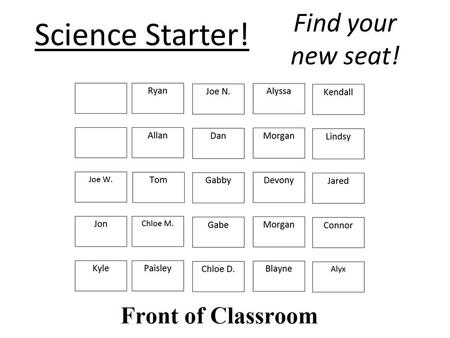 Science Starter! Find your new seat!. Science Starter! Find your new seat!
