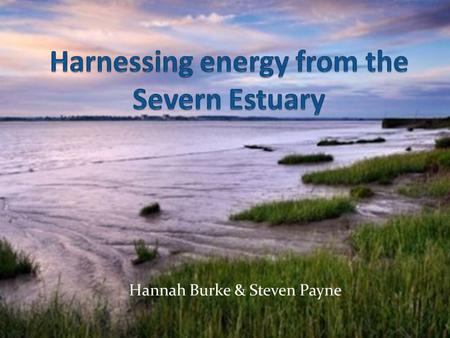 Hannah Burke & Steven Payne. The Severn Estuary The Severn estuary has a lot of potential for harnessing a large quantity of energy, it is one of the.