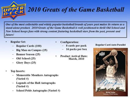 1 2010 Greats of the Game Basketball One of the most collectable and widely popular basketball brands of years past makes its return as a stand-alone product.