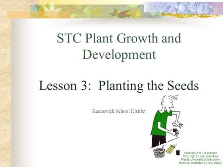 STC Plant Growth and Development Lesson 3: Planting the Seeds Kennewick School District Permission to use granted. Copyright by Wisconsin Fast Plants,