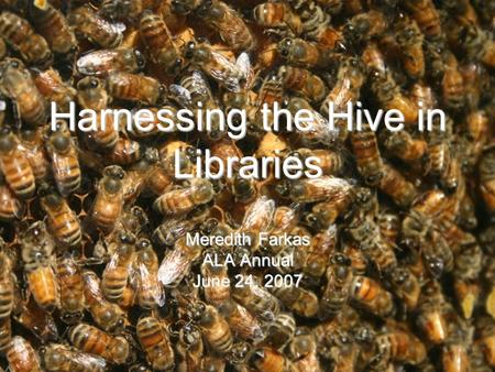 Harnessing the Hive in Libraries Meredith Farkas ALA Annual June 24, 2007.