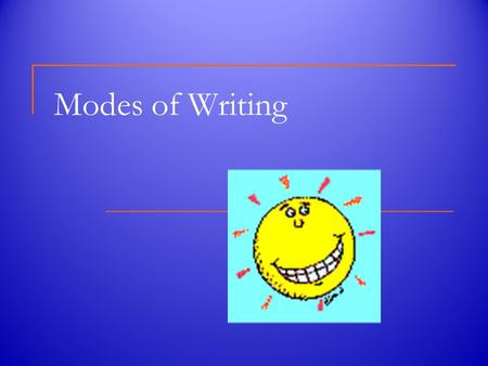 Modes of Writing. There are Four Modes of Writing Narrative Descriptive Expository Persuasive.