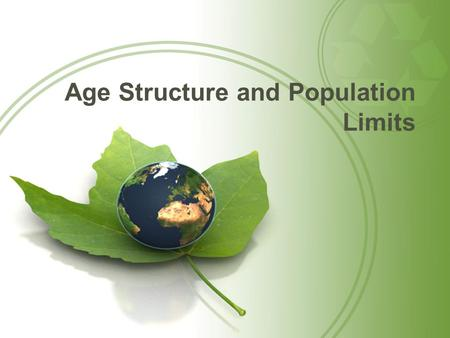 Age Structure and Population Limits. Questions for Today: What are the different age structures of a population and how will they determine future growth?