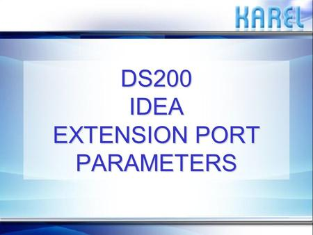 DS200 IDEA EXTENSION PORT PARAMETERS PURPOSEPURPOSE The purpose of this presentation is to explain the details of all the extension port parameters listed.