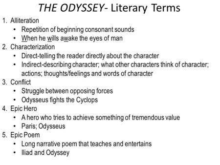 THE ODYSSEY- Literary Terms