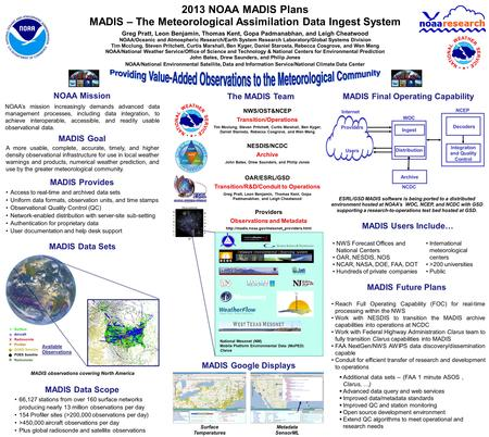 2013 NOAA MADIS Plans MADIS – The Meteorological Assimilation Data Ingest System Greg Pratt, Leon Benjamin, Thomas Kent, Gopa Padmanabhan, and Leigh Cheatwood.