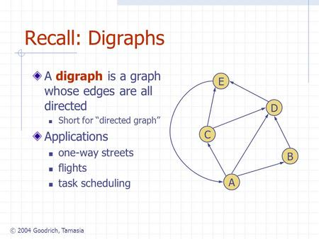 "© 2004 Goodrich, Tamasia Recall: Digraphs A digraph is a graph whose edges are all directed Short for ""directed graph"" Applications one-way streets flights."