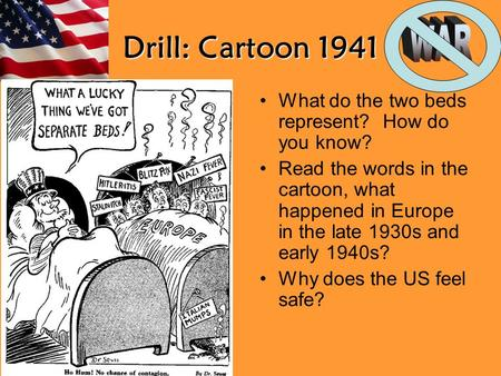Drill: Cartoon 1941 What do the two beds represent? How do you know?
