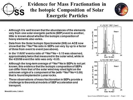 Space Science MO&DA Programs - October 1998 - Page 1 SS Evidence for Mass Fractionation in the Isotopic Composition of Solar Energetic Particles Although.