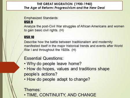 THE GREAT MIGRATION (1900-1940) The Age of Reform: Progressivism and the New Deal Emphasized Standards: USII.9 Analyze the post-Civil War struggles of.