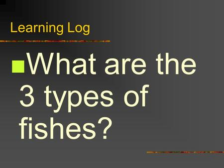 Learning Log What are the 3 types of fishes?. Answer -Bony Fishes -Jawless Fishes -Cartilaginous Fishes.