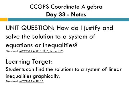 CCGPS Coordinate Algebra Day 33 - Notes