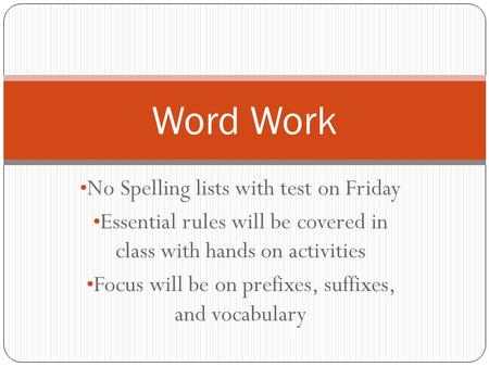 No Spelling lists with test on Friday Essential rules will be covered in class with hands on activities Focus will be on prefixes, suffixes, and vocabulary.