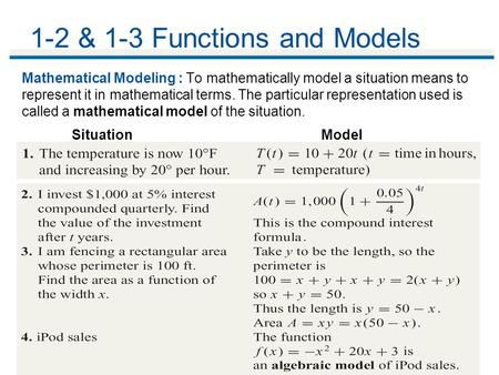 1-2 & 1-3 Functions and Models