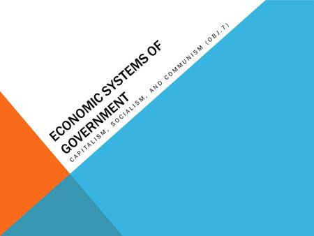 ECONOMIC SYSTEMS OF GOVERNMENT CAPITALISM, SOCIALISM, AND COMMUNISM (OBJ.7)