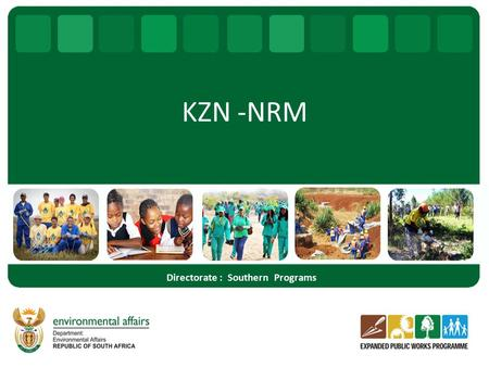 KZN -NRM Directorate : Southern Programs. Regional Activities – Working for Water – Working for Rivers – Working for Ecosystems – Working for Energy –