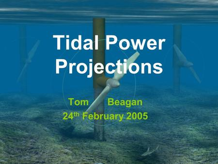 Tidal Power Projections Tom Beagan 24 th February 2005.