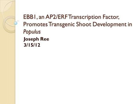 EBB1, an AP2/ERF Transcription Factor, Promotes Transgenic Shoot Development in Populus Joseph Ree 3/15/12.