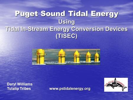 Puget Sound Tidal Energy Using Tidal In-Stream Energy Conversion Devices (TISEC) www.pstidalenergy.org Daryl Williams Tulalip Tribes.