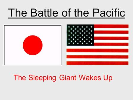 The Battle of the Pacific The Sleeping Giant Wakes Up.