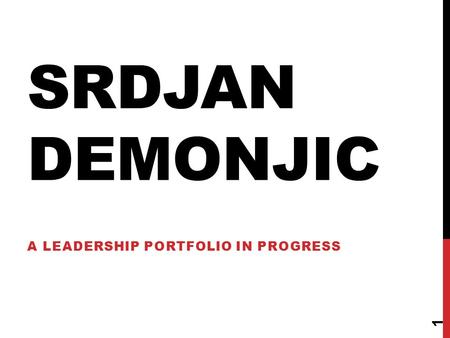 SRDJAN DEMONJIC A LEADERSHIP PORTFOLIO IN PROGRESS 1.