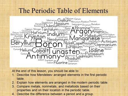 The Periodic Table of Elements At the end of this lesson, you should be able to: 1.Describe how Mendeleev arranged elements in the first periodic table.