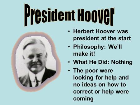 an introduction to the history of presidents hoover and roosevelt