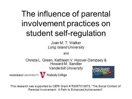 The influence of parental involvement practices on student self-regulation Joan M. T. Walker Long Island University and Christa L. Green, Kathleen V. Hoover-Dempsey.