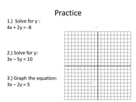 Practice 1.) Solve for y : 4x + 2y = -8 2.) Solve for y: 3x – 5y = 10 3.) Graph the equation: 3x – 2y = 5 x y O 5 5 5 5.