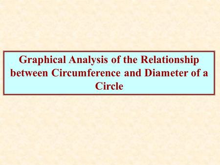 Graphical Analysis of the Relationship between Circumference and Diameter of a Circle.