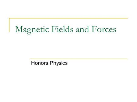 Magnetic Fields and Forces Honors Physics. Facts about Magnetism Magnets have 2 poles (north and south) Like poles repel Unlike poles attract Magnets.