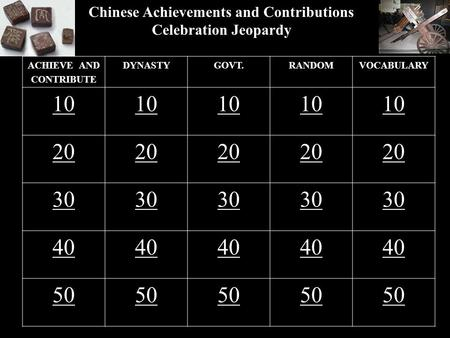 Chinese Achievements and Contributions Celebration Jeopardy ACHIEVE AND CONTRIBUTE DYNASTYGOVT.RANDOMVOCABULARY 10 20 30 40 50.