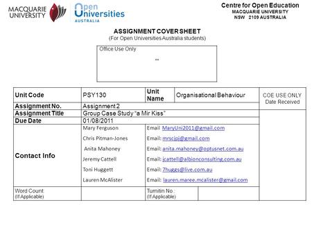 Centre for Open Education MACQUARIE UNIVERSITY NSW 2109 AUSTRALIA Office Use Only ** ASSIGNMENT COVER SHEET (For Open Universities Australia students)