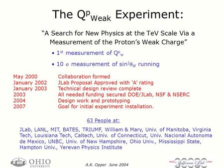 "A.K. Opper June 2004 The Q p Weak Experiment: ""A Search for New Physics at the TeV Scale Via a Measurement of the Proton's Weak Charge"" 63 People at: JLab,"
