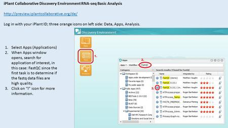IPlant Collaborative Discovery Environment RNA-seq Basic Analysis  Log in with your iPlant ID; three orange icons.