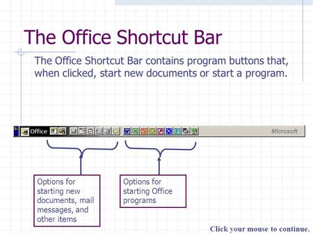 Click your mouse to continue. The Office Shortcut Bar The Office Shortcut Bar contains program buttons that, when clicked, start new documents or start.