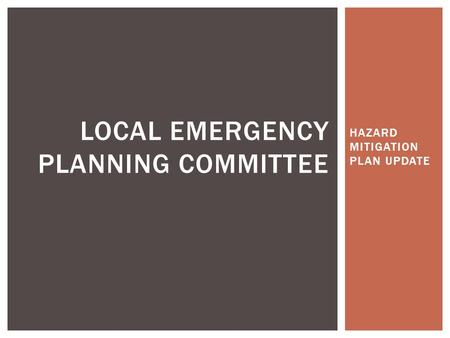 HAZARD MITIGATION PLAN UPDATE LOCAL EMERGENCY PLANNING COMMITTEE.