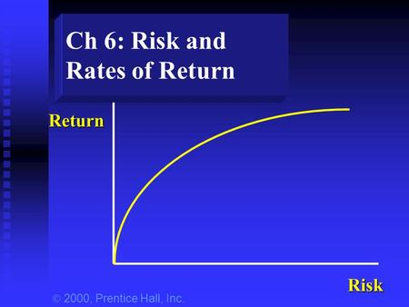 Ch 6: Risk and Rates of Return Return Risk  2000, Prentice Hall, Inc.