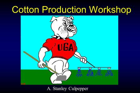 Cotton Production Workshop A. Stanley Culpepper. Breakout Session Objectives 1. New labels or uses 2. RR cotton tolerance to glyphosate 3. Managing weeds.
