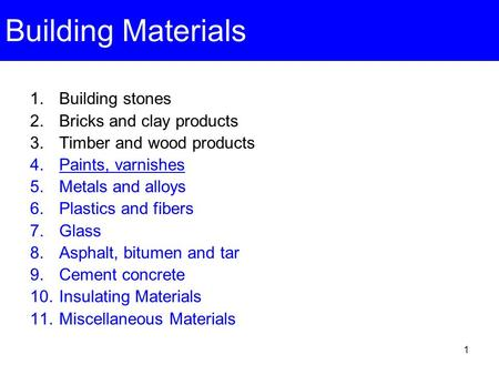 Building Materials Building stones Bricks and clay products