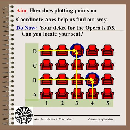 Aim: Introduction to Coord. Geo. Course: Applied Geo. Do Now: Your ticket for the Opera is D3. Can you locate your seat? Aim: How does plotting points.