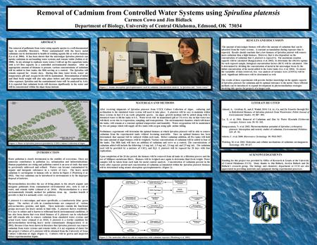 Removal of Cadmium from Controlled Water Systems using Spirulina platensis Carmen Cowo and Jim Bidlack Department of Biology, University of Central Oklahoma,