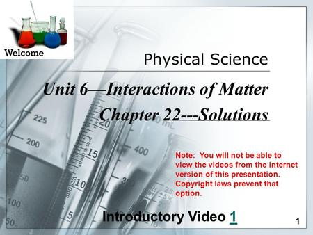 Unit 6—Interactions of Matter Chapter 22---Solutions