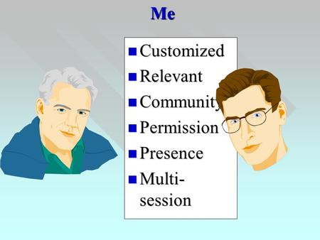 Me Customized Customized Relevant Relevant Community Community Permission Permission Presence Presence Multi- session Multi- session.