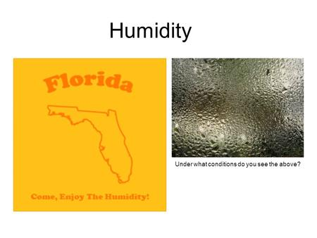 Humidity Under what conditions do you see the above?