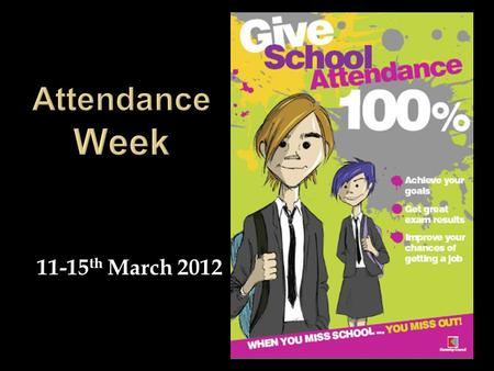 11-15 th March 2012. Some facts to get you thinking about how importance attendance at school really is.